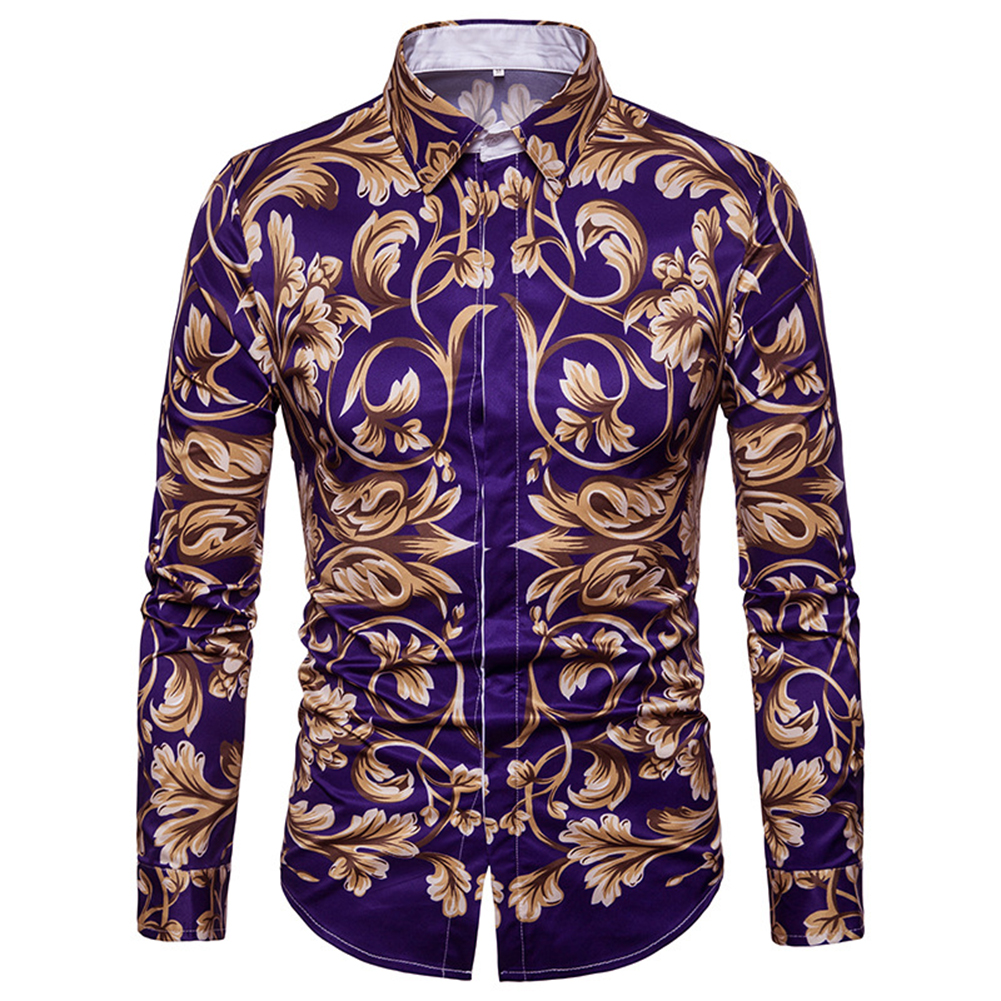 Men Spring and Autumn Casual Fashion Digital Print Long Sleeve Lapel Slim Shirt Top Color_M