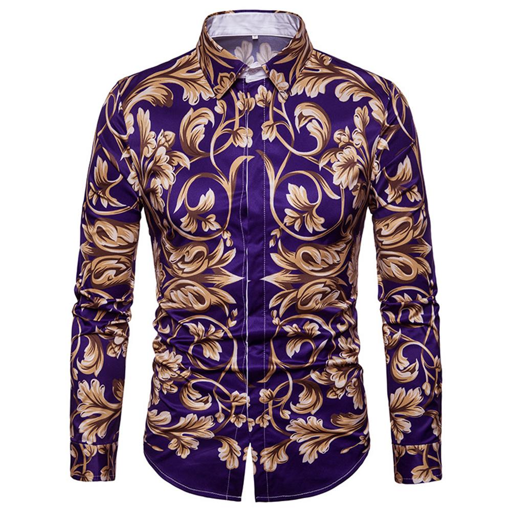 Men Spring and Autumn Casual Fashion Digital Print Long Sleeve Lapel Slim Shirt Top Color_L