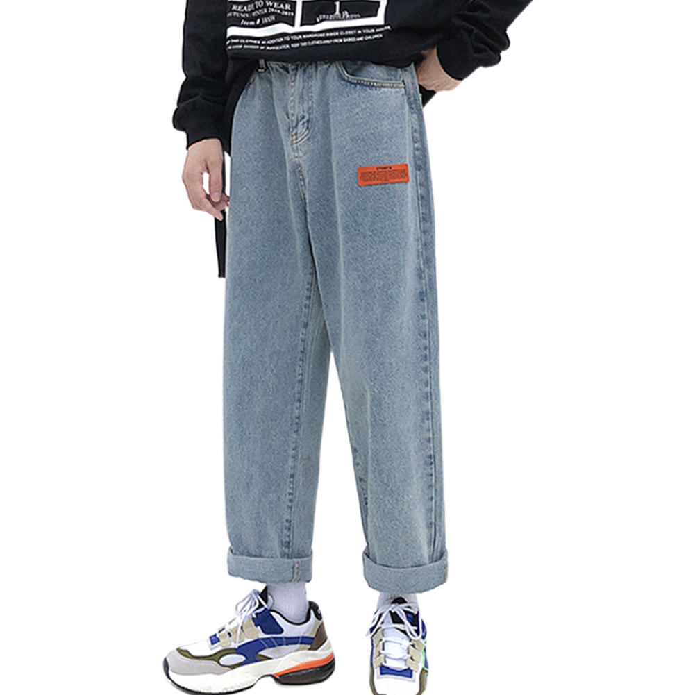 Men Jeans Denim Pants Label Decoration Straight Bottom Loose Casual Male Trousers  Blue_M