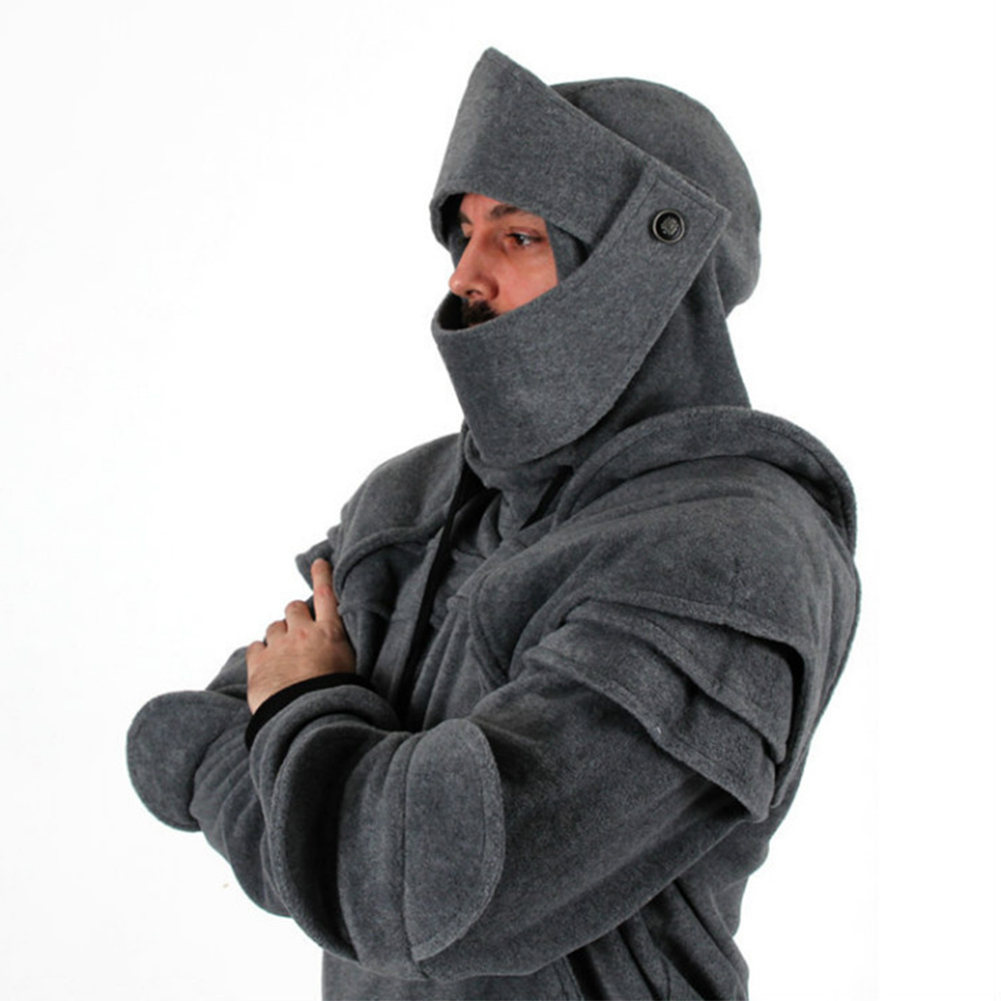 Men Solid Color Retro Elbow Drawstring Mask Knight Sweater  gray_M