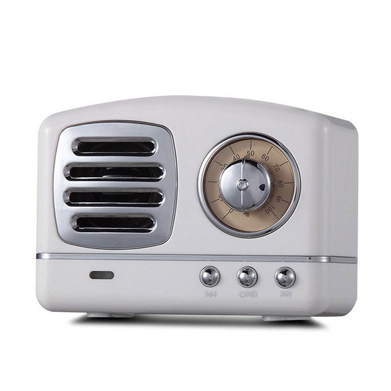 Retro Hifi Stereo Bluetooth V4.1 Speaker Portable Wireless Vintage Speaker Built-in Mic Support Memory Card white