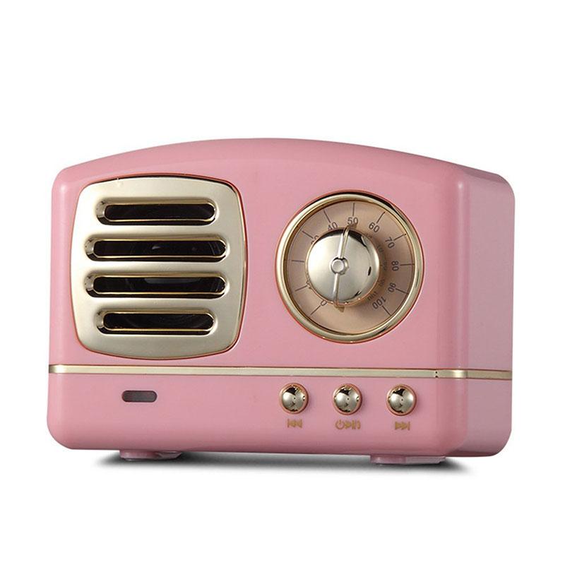 Retro Hifi Stereo Bluetooth V4.1 Speaker Portable Wireless Vintage Speaker Built-in Mic Support Memory Card pink