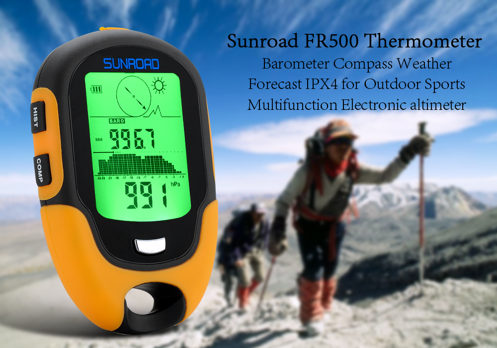 Купить со скидкой Sunroad FR500 Multifunction Outdoor Altimeter - Barometer, Compass, Thermometer, Hygrometer, LED Tor