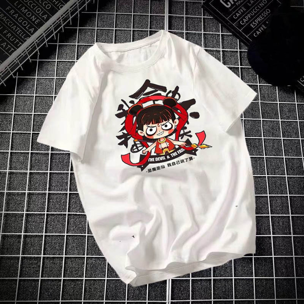 Male Leisure Top with Nezha Cartoon Pattern Decorated Shirt Casual Pullover for Man Nezha white_M