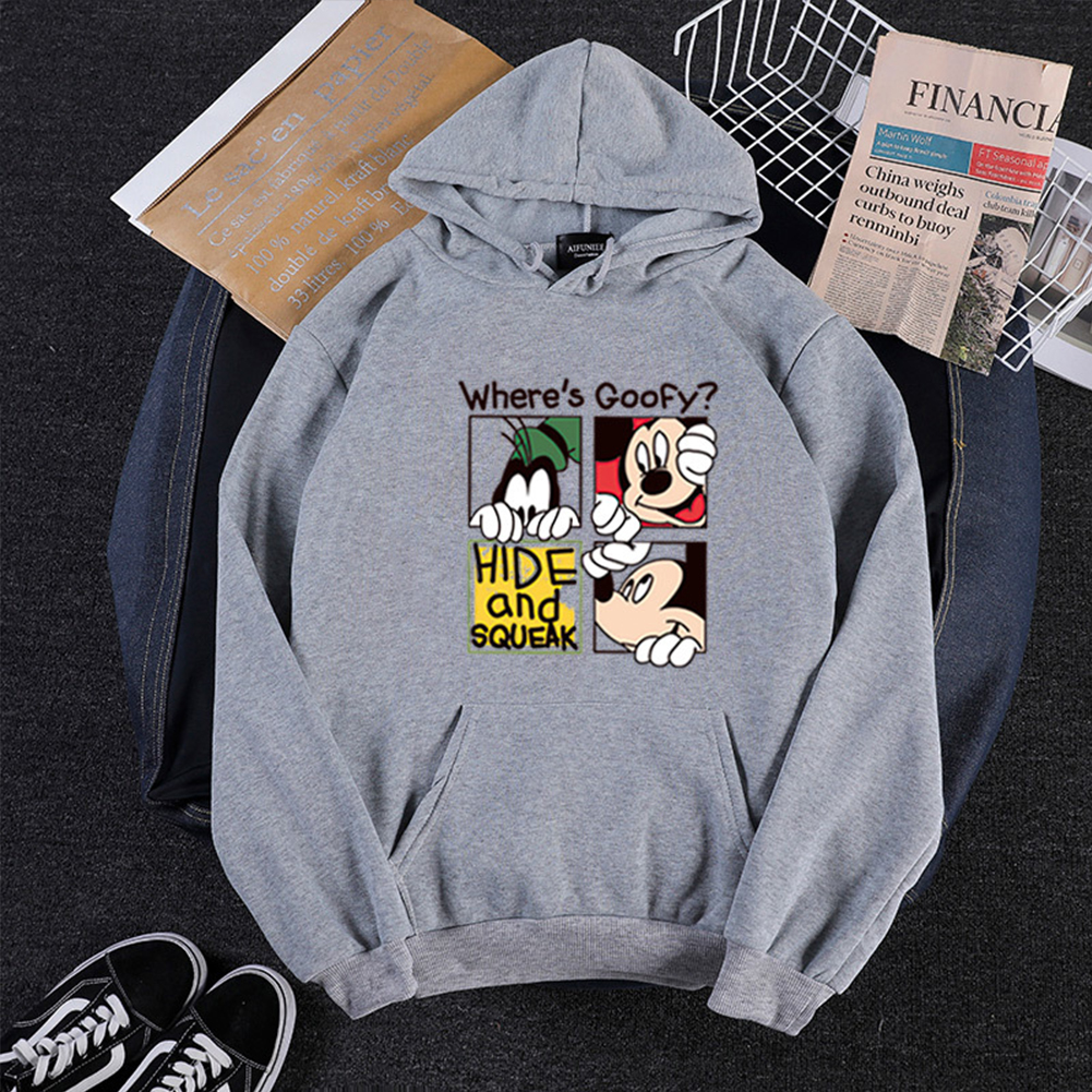 Men Women Cartoon Hoodie Sweatshirt Micky Mouse Thicken Autumn Winter Loose Pullover Gray_M
