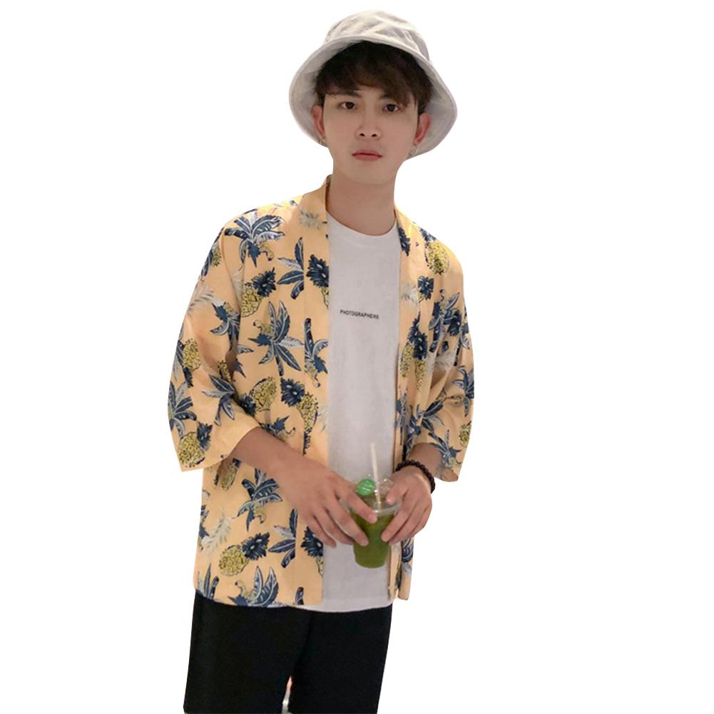 Retro Loose Hawaiian Pineapple Print for Seaside Vacation Dhort Sleeve Shirt Yellow_XL