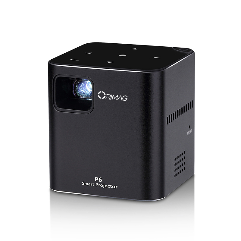 Orimag P6 Mini DLP Projector - Aluminum Body, 1080p Support, 80 ANSI Lumen, 120-Inch Image Size, 2000mAh, SD Card Slot (Black)
