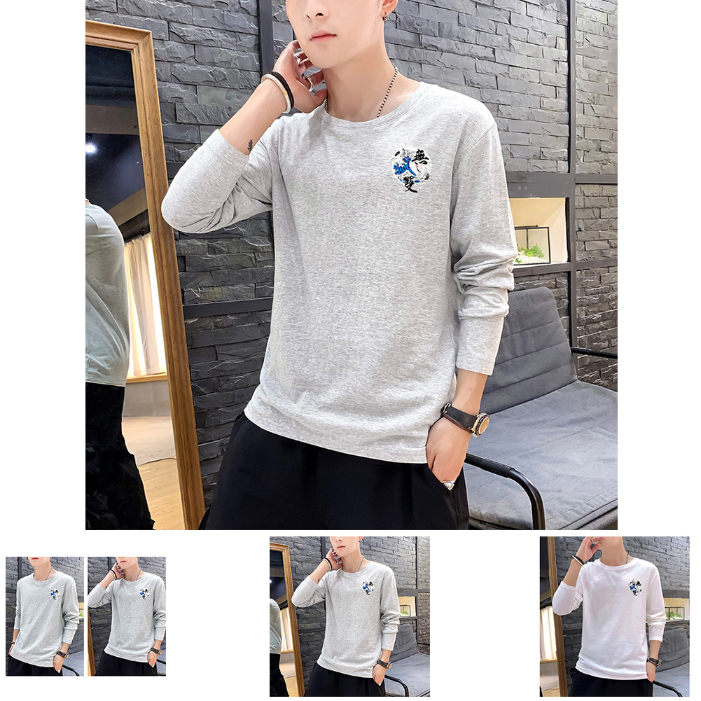 Men Autumn and Winter Long Sleeve Round Neckline Print Solid Color Cotton T-Shirt Tops gray_XXXL
