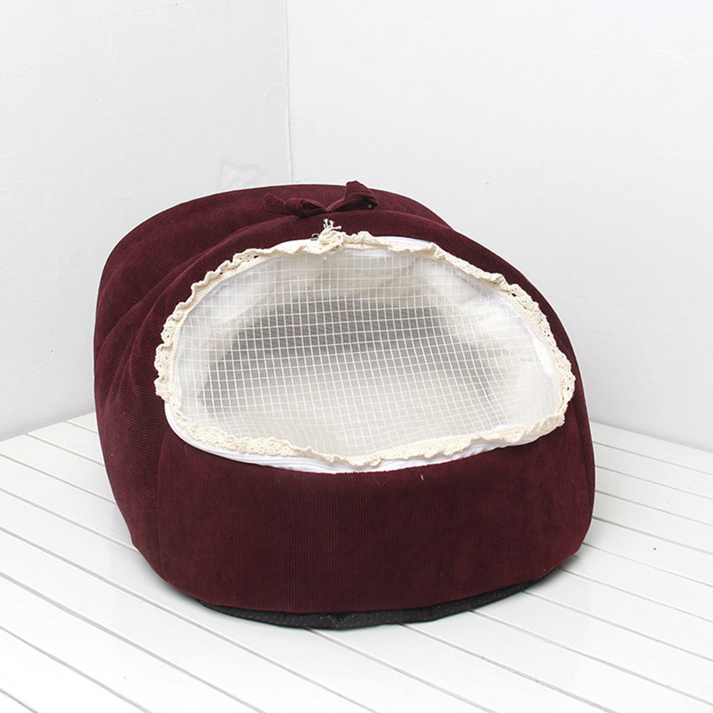 Dual Use Soft Plush Dog Cat Bed Dog Kennel Pet House for Puppy Dogs Cat Small Animals Mat red_S