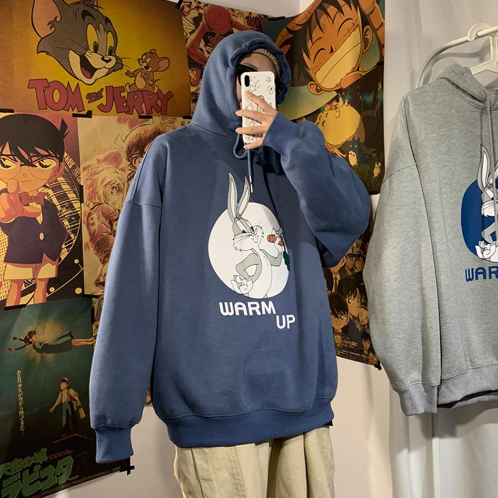 Men Women Hoodie Sweatshirt Cartoon Rabbit Printing Fashion Loose Pullover Casual Tops Blue_L