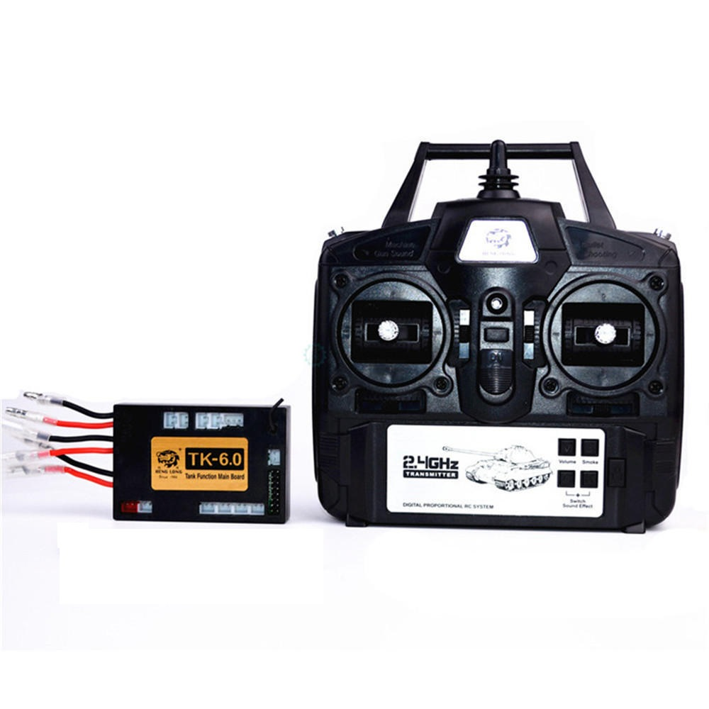 6.0 Function Mainboard + 2.4G Transmitter Remote Control System Set for Heng Long 1/16 RC Car Model black