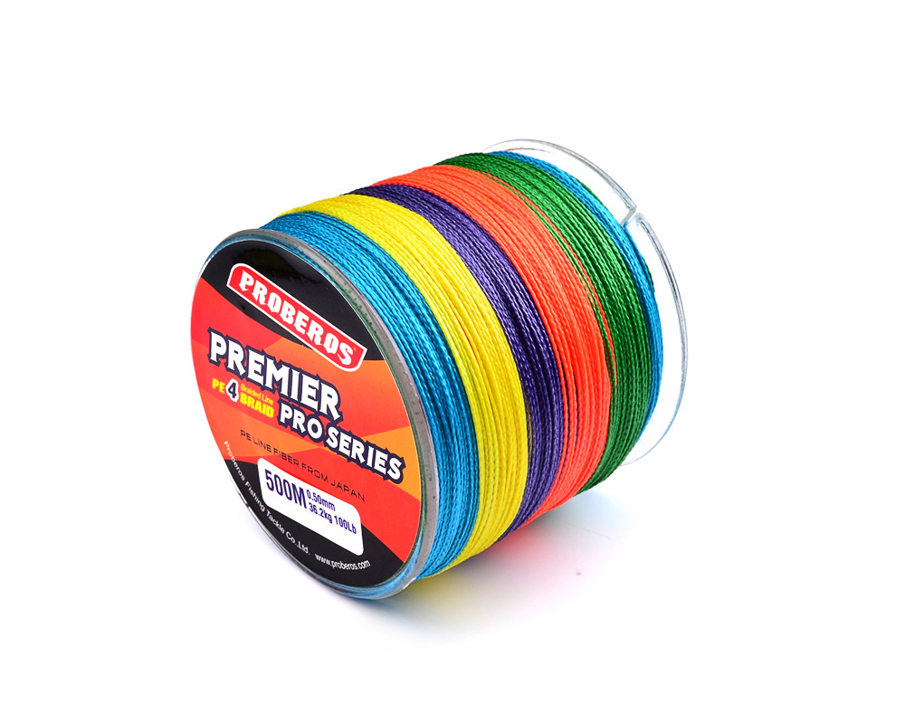 4 Braid 500M Fishing Line PE Woven High Strength Colorful Fishing Line as shown