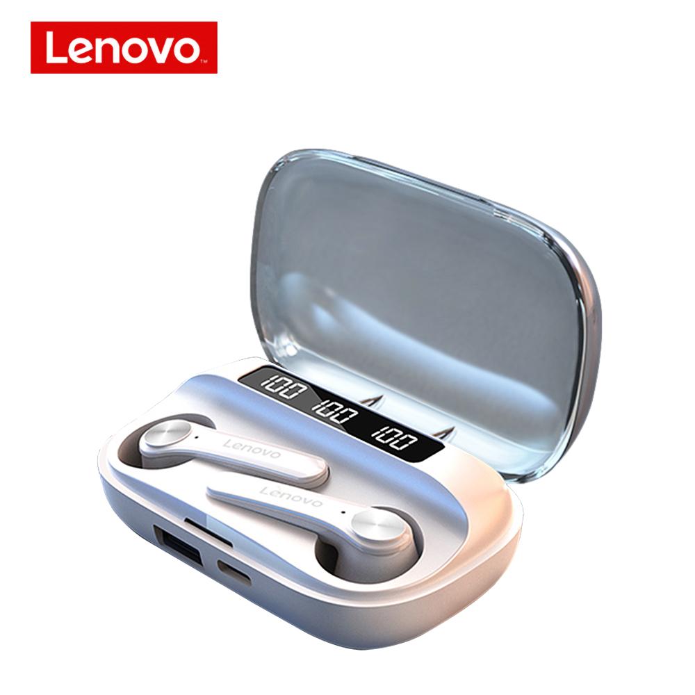 Original LENOVO QT81 Wireless Bluetooth  Earphones Long Battery Life Touch Control Earphones Ipx4 Waterproof Earbuds white