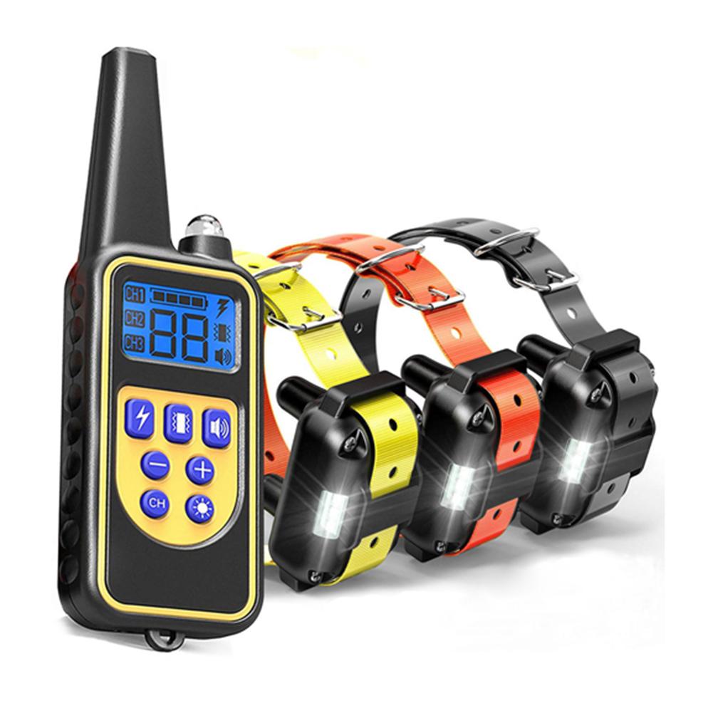 Pet Collar Bark Stopper Remote Dog  Training Device Beep  Vibration Electric Shock Collar 880-3 black orange yellow band_British plug