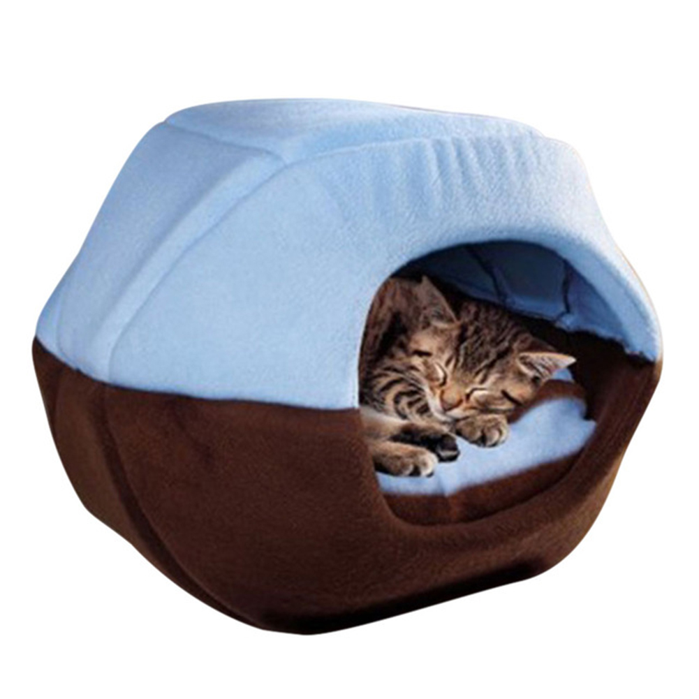 Foldable Soft Warm Winter Cat Dog Bed House Animal Puppy Cave Sleeping Mat Pad Nest Kennel Pet Supplies  blue_S 35X30 cm