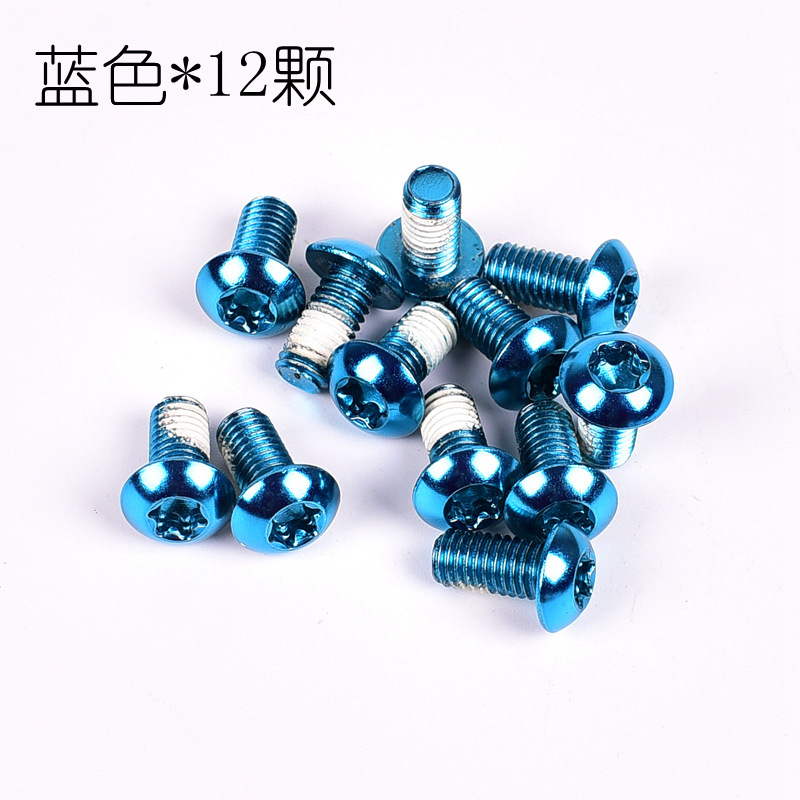 12PCS/Pack Colorful MTB Bike Bicycle Disc Brake Rotor Torx T25 Bolts Stainless Steel M5*10mm Road Bike Disc Brake Rotor Screws Blue 12 / box