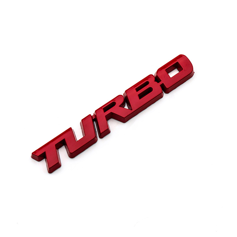 3D Car Styling Sticker Metal TURBO Emblem Body Rear Tailgate Badge Tailgate red