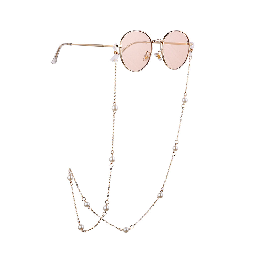 Women Fashion Simple Nonslip Pearl Beads Eyeglass Chain Gold