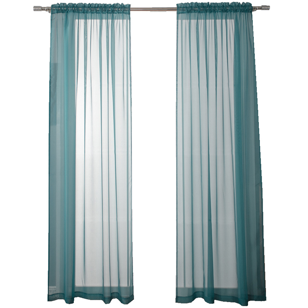 Solid Color Shading Tulle Curtain for Living Room Home Window Decoration Lake Blue_Wear rod 140 wide X241cm high (55X95