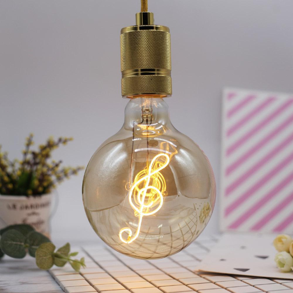 220V 4W 220LM LED G125 Edison Bulb with Decorative Note Shape Filament