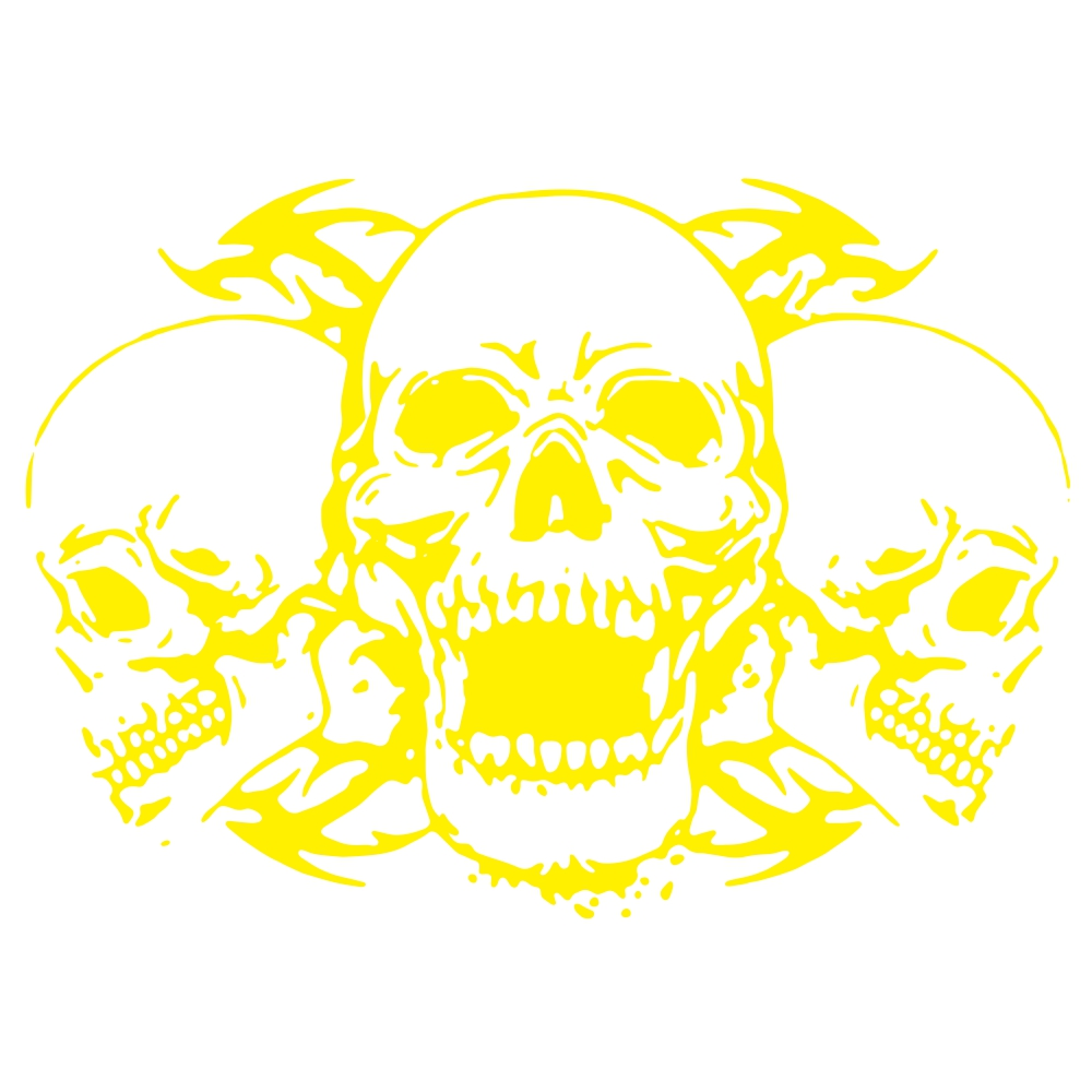Skull Car Body Racing Side Door Long Stripe Stickers Auto Vinyl Decal yellow