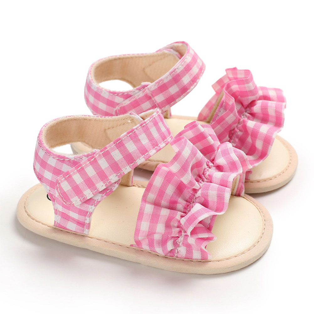 Cute Plaid Soft Rubber Sole Princess Sandals for Baby Infant Girls Pink_Inside length 11 cm