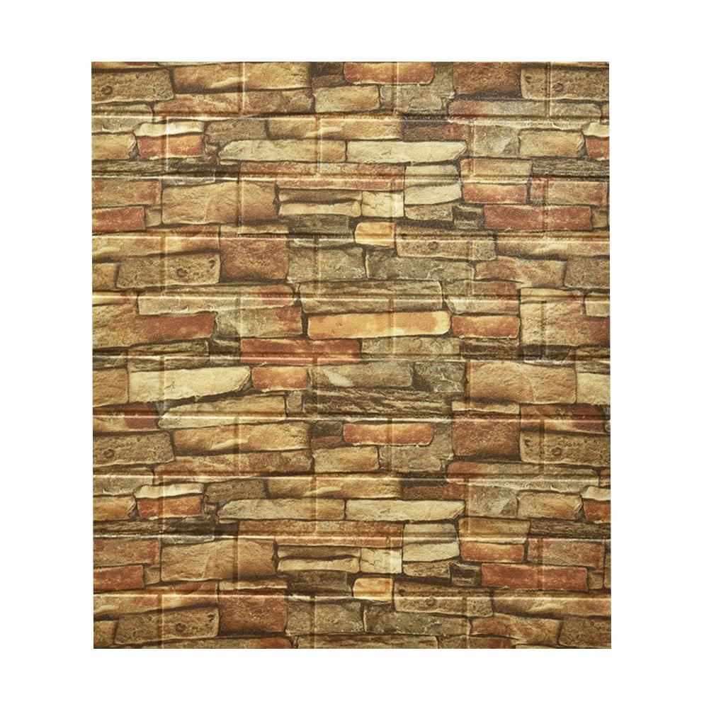 Foam Retro Style Brick Pattern Wall  Stickers Three-dimensional Self-adhesive Decorative Wallpaper Brick yellow brick
