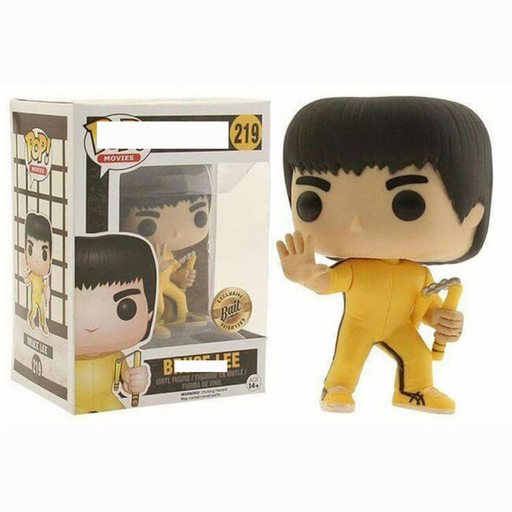 Cartoon Figure Doll Funko Pop Movies Bruce Lee Game of Death Exclusive Vinyl Figure POP 219# yellow