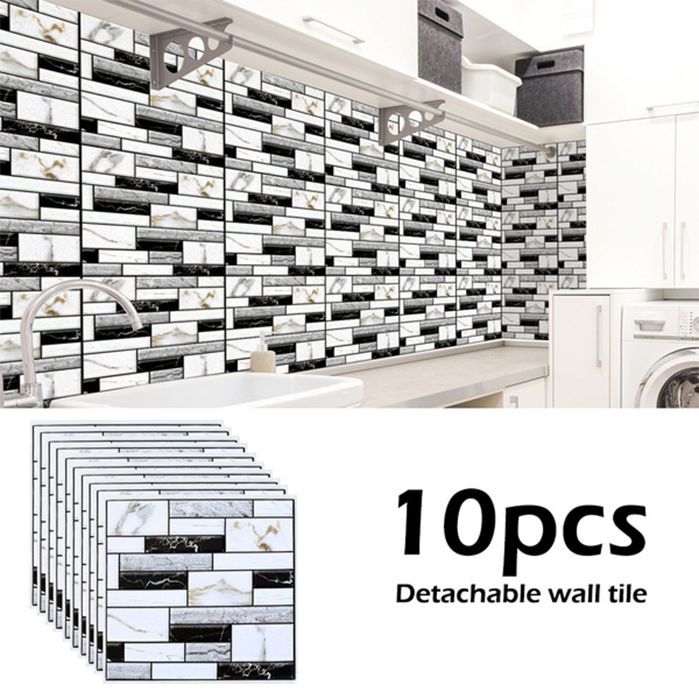 10Pcs 3D Removable Self-adhesion Waterproof Tile Wall Sticker DIY Home Decoration WP509