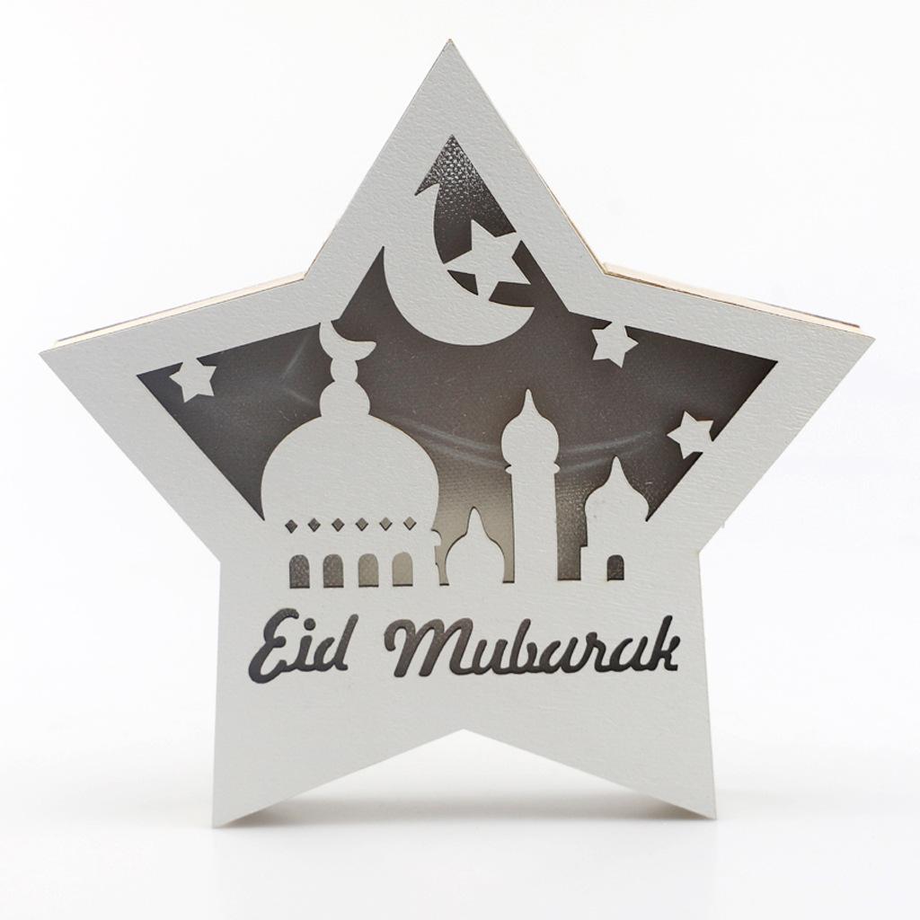 Five Pointed Star Wall Lamp LED Eid Ramadan Decoration Wood Pendant Holiday Party Decor JM01941
