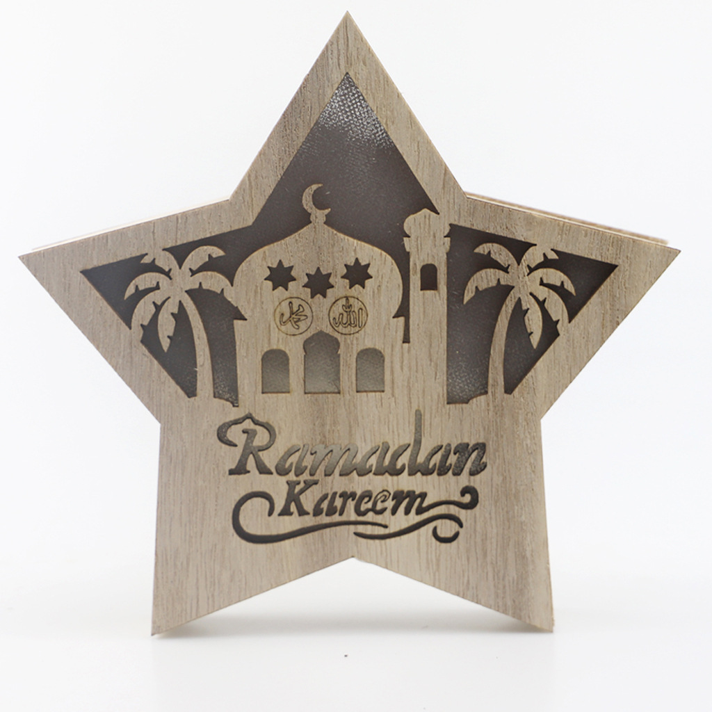 Five Pointed Star Wall Lamp LED Eid Ramadan Decoration Wood Pendant Holiday Party Decor JM01943