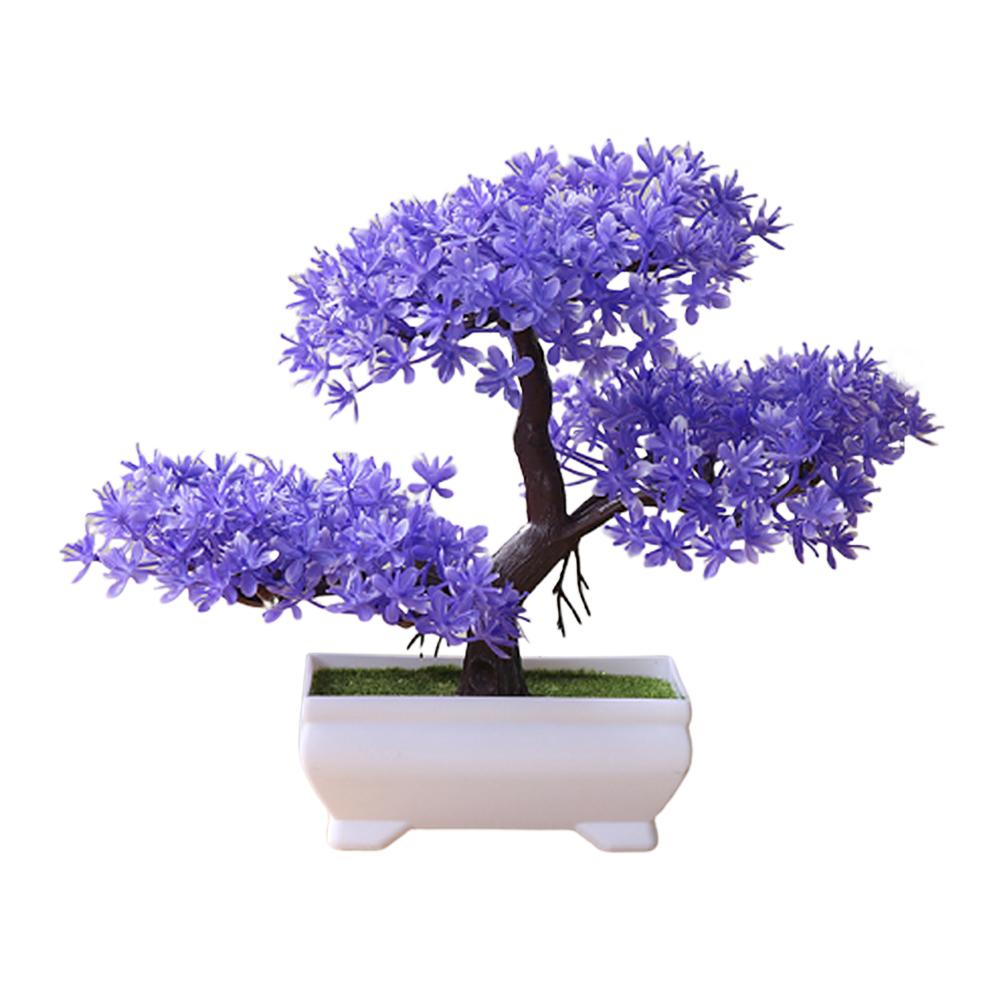 Artificial Chamaecyparis Pisifera Shape Plant Bonsai for Home Dinning Table Ornament purple