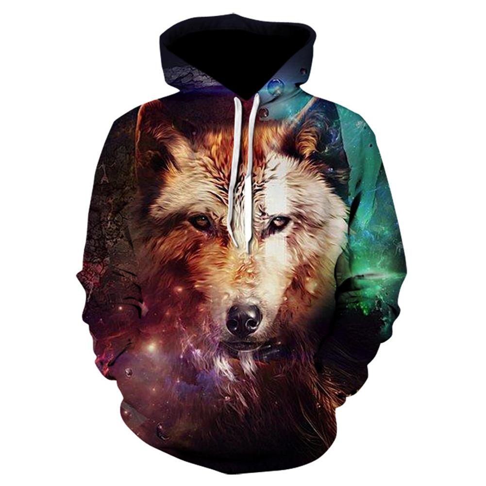 Halloween Christmas Men/Women 3D Colorful Wolf Print Hoodie Cool Hooded Pullover Sweatshirts WE-307_M