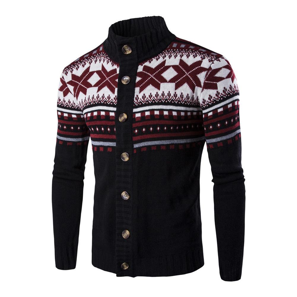 Autumn Winter Europe and America Style Christmas Male Single Jugged Base Shirt Cardigan Sweater black_XL