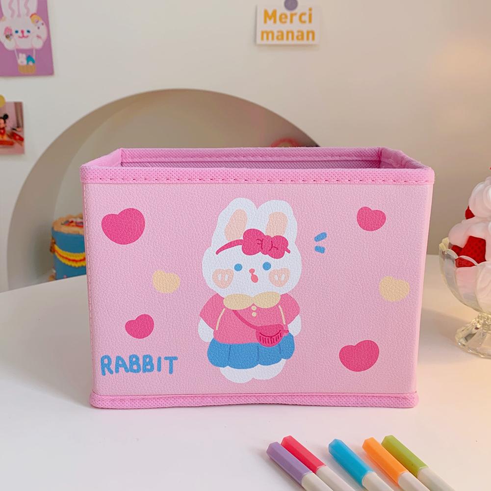 Pu  Leather  Cartoon  Storage  Box Cute Pattern Foldable Desktop Debris Sorting Storage Box 5#Love Bunny