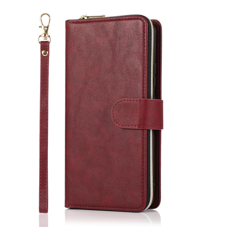 For Samsung A01/A21/A31/A41/A51 Pu Leather  Mobile Phone Cover Zipper Card Bag + Wrist Strap Red wine