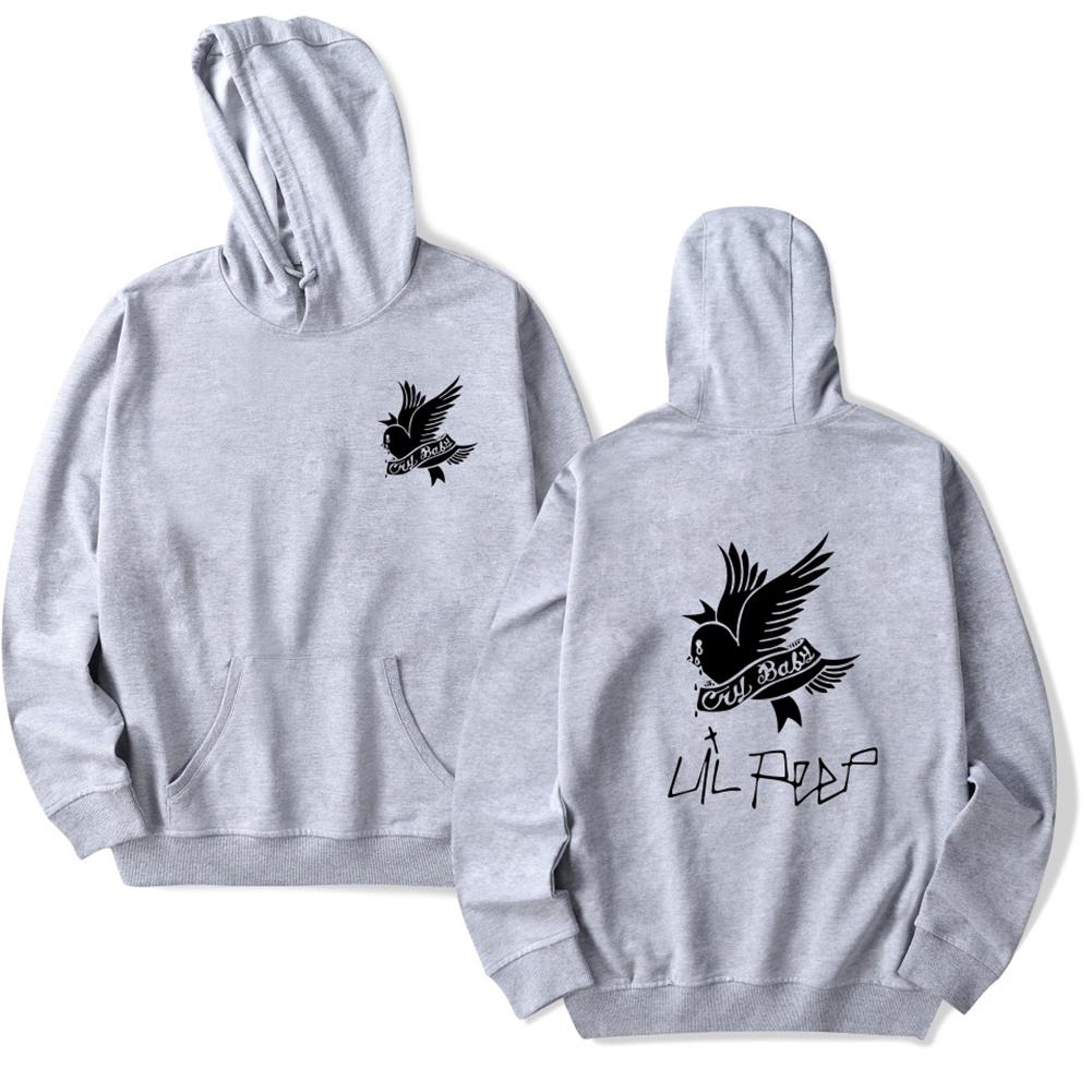 Fashion Lil Peep Series Loose Men Women Hooded Sweatshirt A-4824-WY02-1 grey_XXL