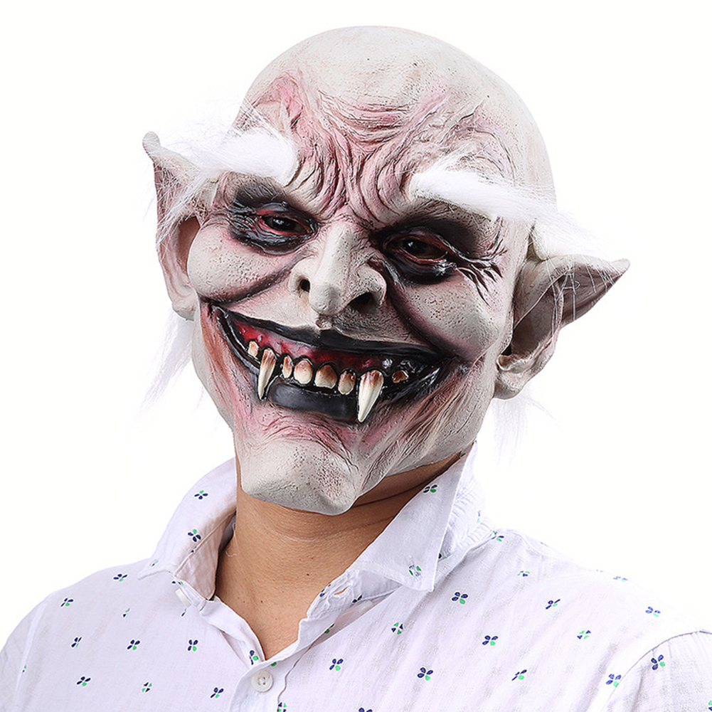 Unisex Scary Old Demon with White Eyebrows Mask Latex Costume Head Mask for Halloween Party Prop white
