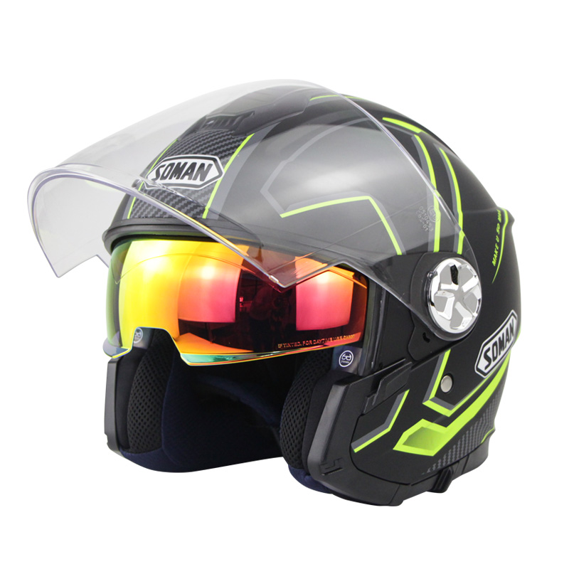 Motorcycle Helmet 3/4 Electrical Helemets Dual Visor Half Face Motorcycle Helmet   Black and yellow sky array_XXL