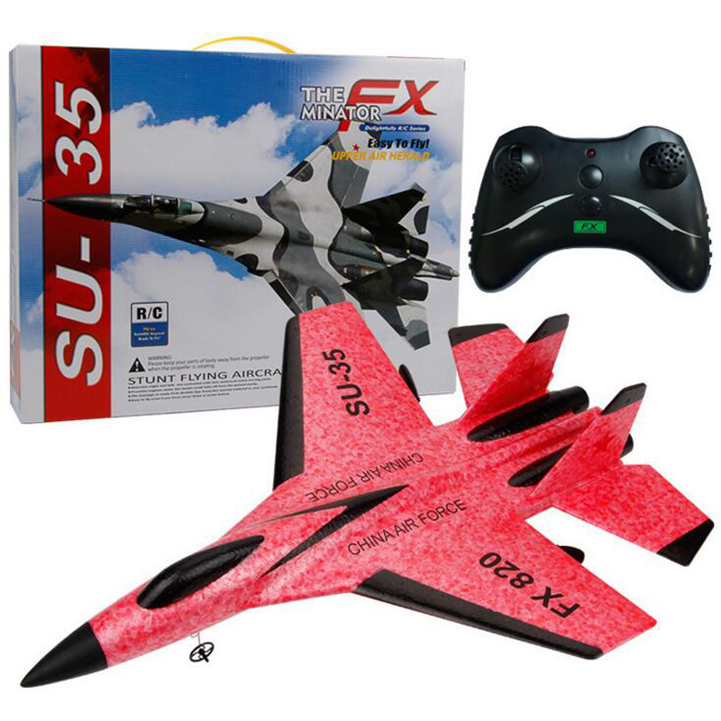 Super Cool RC Fight Fixed Wing RC Drone FX-820 2.4G Remote Control Aircraft Model RC Helicopter Drone Quadcopter Hi USB 3C red