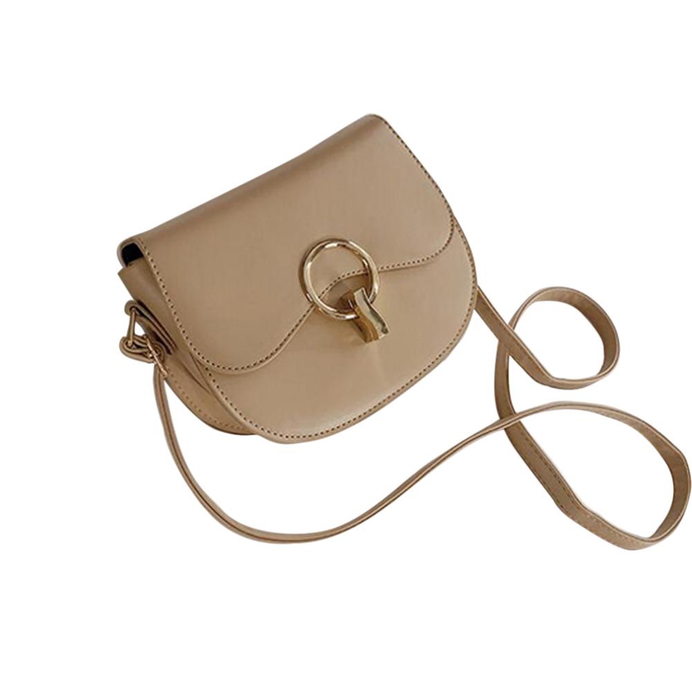 Korean Version Of The Wild Messenger Bag Fashion Hit Color Shoulder Saddle Bag Khaki