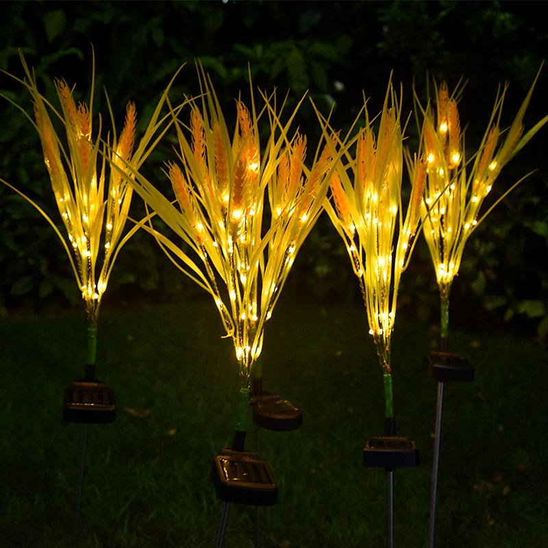 2Pcs LED Solar Powered Light Waterproof Wheat Shape Lawn Lamp for Outdoor Garden Courtyard warm light