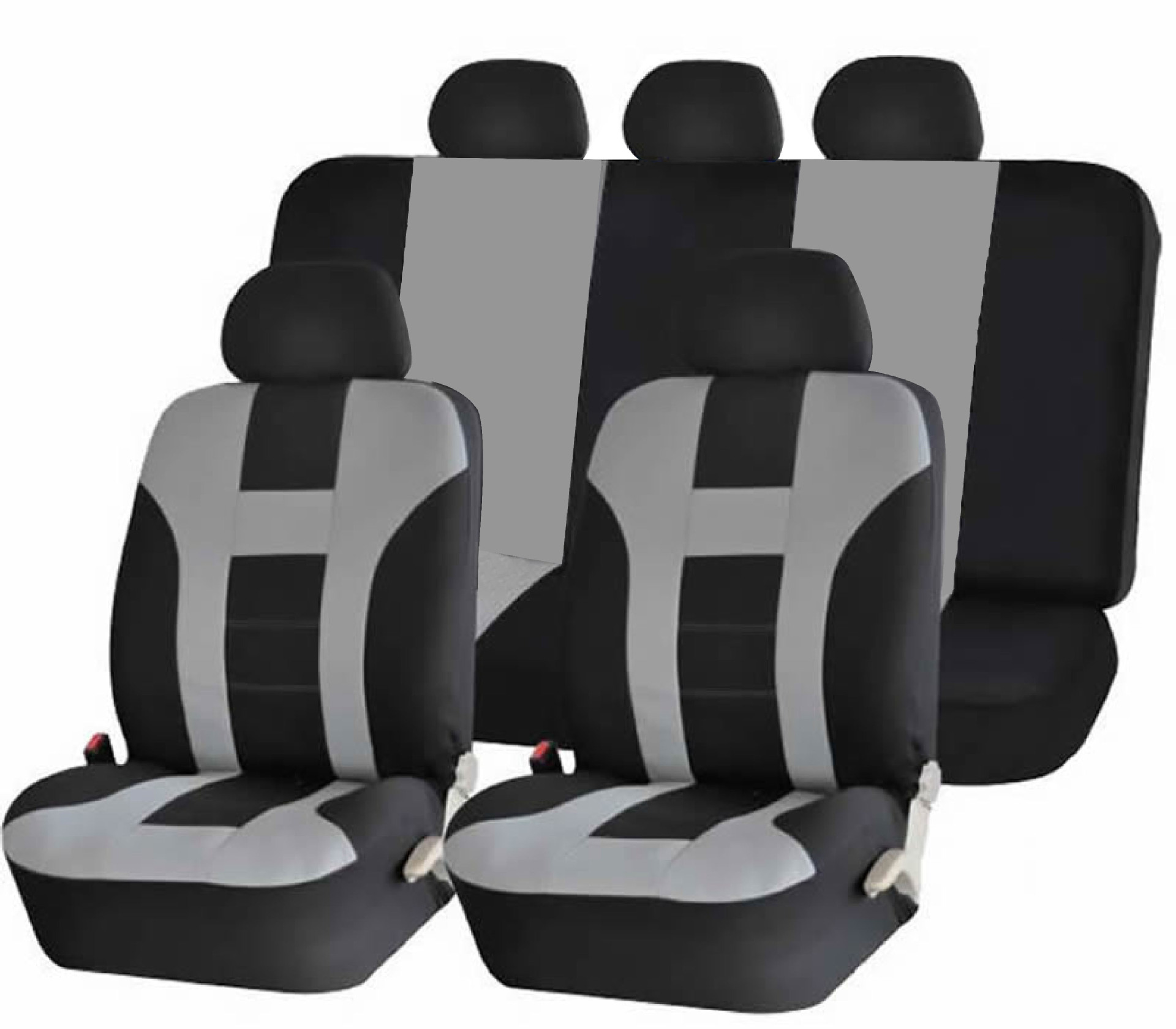 9pcs/4pcs Universal Classic Car Seat Cover Car Fashion Style Seat Cover Black + gray 9 pcs/ set