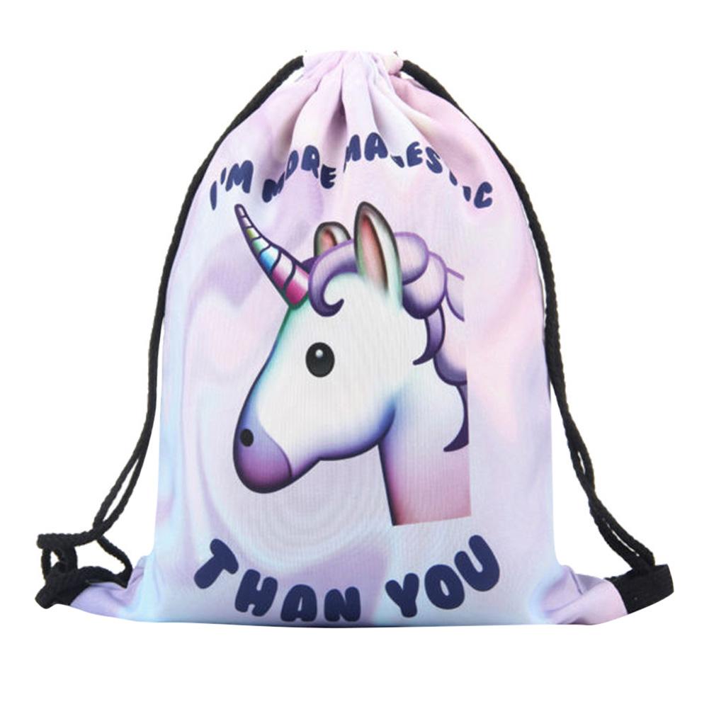 [EU Direct] Fashion 3D Printing Unicorn Drawstring Backpack Travel Gym Shoulder Bags