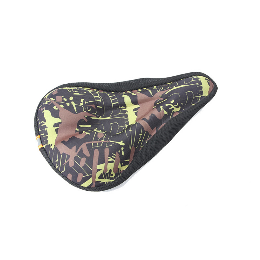 Camoufalge HIghway Bicycle Cushion Anti-skid Silicone Mountain Bike Seat  Camouflage green straight slot_28*19*2.5cm