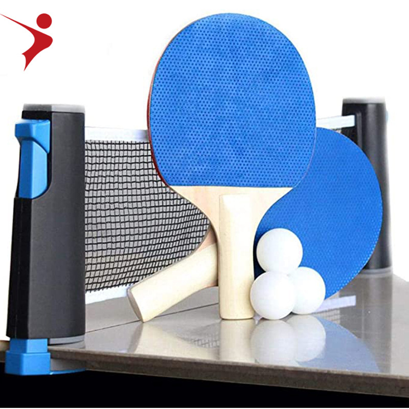 Portable Table Tennis Set Ping Pong Racket Ball Retractable Net Rack Sports Equipment English Manual Black Blue