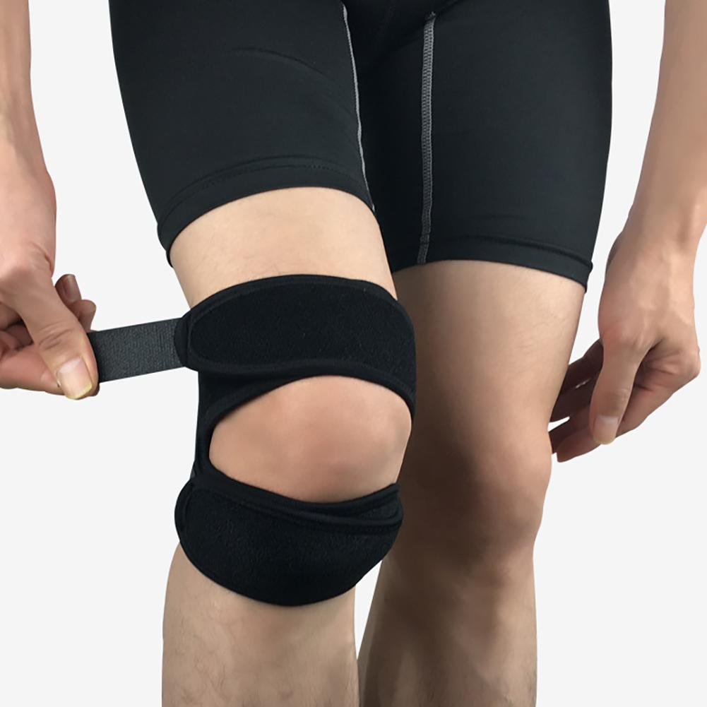 Adjustable Knee Brace Patella Belt Sports Shock Absorption Compression Riding Fitness Protective Pads Black