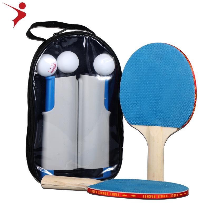 Portable Table Tennis Set Ping Pong Racket Ball Retractable Net Rack Sports Equipment English Manual Gray Blue