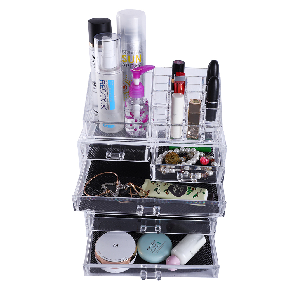 [US Direct] Original Zimtown Makeup Organizer Cosmetics Storage Rack with 2 Small & 5 Large Drawers (Transparent)