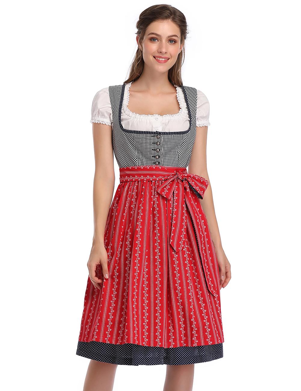 KOJOOIN Women's Vintage Embroidery German Dirndl Dress Costumes for Bavarian Oktoberfest Halloween Carnival